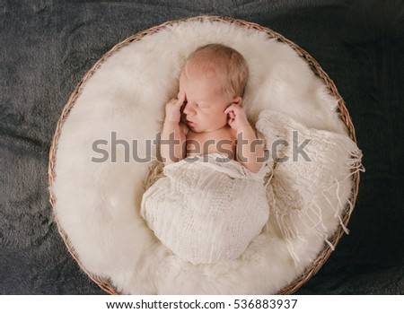 The small baby lies on the basket