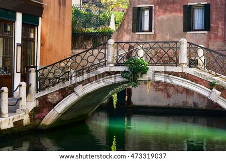 The small bridge on the channel in Venice