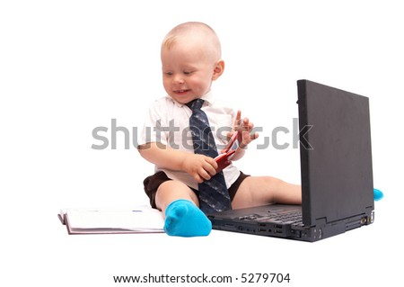 The small businessman with the computer on a white background