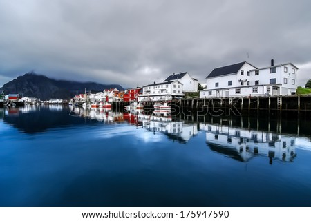The small fishing village of Henningsvaer, Archipelago of Lofoten, Norway - stock photo