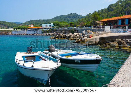 The small fishing village of Kamiros Skala Rhodes Dodecanese Greece Europe