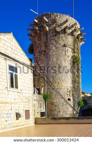 The Small Governor Tower or Lombardo Tower (Mala Knezeva Kula) in the old town of Korcula, Croatia - stock photo