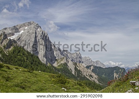 The small Lafatscher with its rugged north face - stock photo