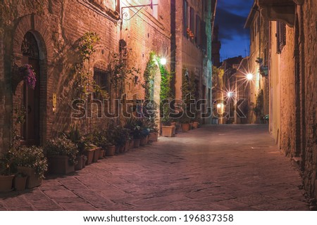 The small medieval village at night, Pienza, Italy - stock photo