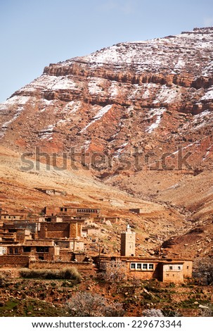 The small mountain village of Aguelmous in the High Atlas in winter season - Ouarzazate province, Morocco, Africa. - stock photo