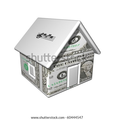 The small one-storeyed dollar house with notes, 3d, it is isolated.