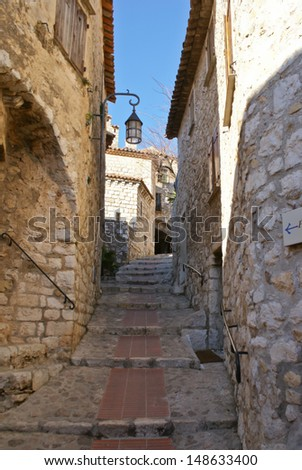 The small scenic medieval town Eze, is located  near Monaco and Nice in Provence region, France. - stock photo