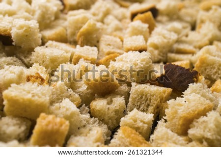 The small slices of croutons which are just prepared - stock photo
