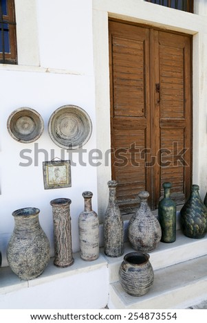 The small streets of Apiranthos at the Naxos island at the Cyclades of the Aegean sea in Greece - stock photo