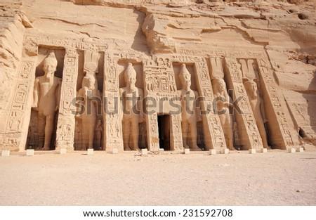 The Small Temple of Nefertari. Abu Simbel, Nubia, Egypt. - stock photo