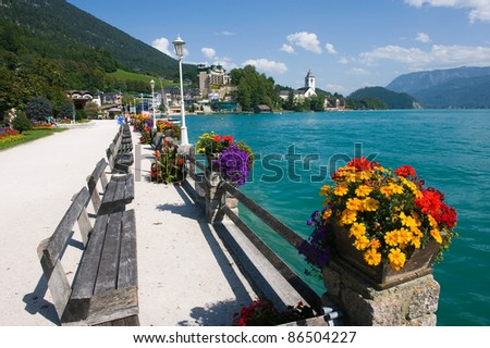 The small tourist town St. Wolfgang on the banks of the Wolfgangsee in Austria - stock photo