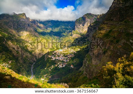 the small town Curral das Freiras surrounded by mountains, Madeira, Portugal