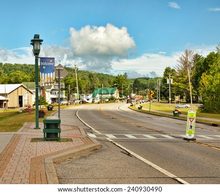 the small town of Speculator, New York located in the Adirondack State Park - stock photo