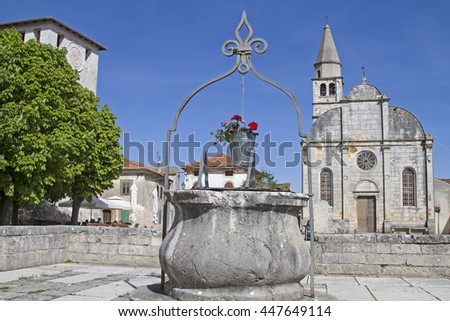 The small town Svetvincenat has a large square surrounded by a fortress, its picturesque Loggia, St. Catherine's Church and a small typical Pizzeria - stock photo