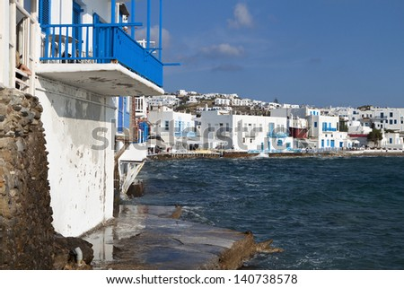 The small Venice of Mykonos island in Greece - stock photo