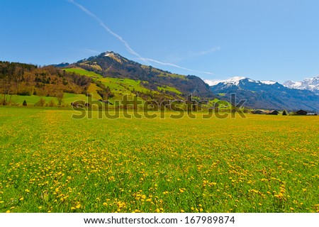 The Small Village High Up in the Swiss Alps - stock photo
