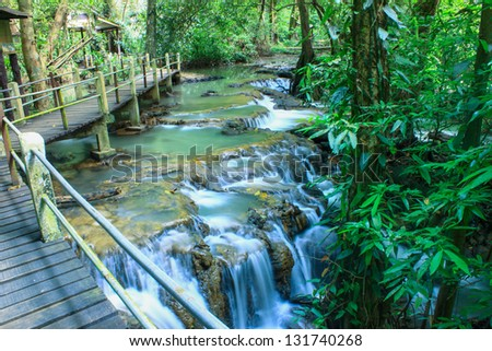 The small waterfall and rocks, Thailand - stock photo