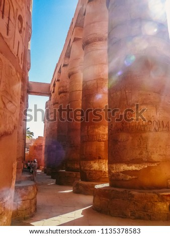 The smaller sand stone columns of the Great Hypostyle Hall found in the Karnak Temple complex