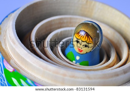 The smallest of the Matrioska Russian Dolls, inside the others - stock photo
