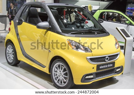 The 2015 Smart car electric drive at The North American International Auto Show January 13, 2015 in Detroit, Michigan.