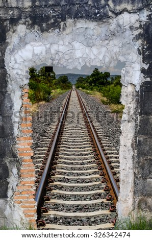 The smashed walls With a background as a railway - stock photo