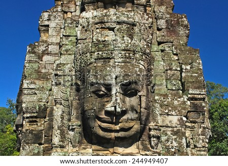 The Smiling Face of Bayon Temple in Siem Reap of Cambodia