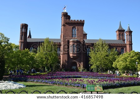 The Smithsonian Institution Building (Castle) in Washington, DC - stock photo