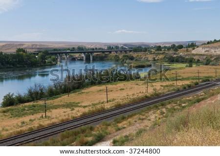 The Snake River and Interstate 84 near Glenn's Ferry, Idaho - stock photo
