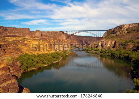 The Snake River and the Perrine Bridge at Twin Falls, Idaho - stock photo