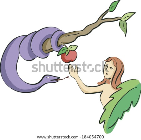The snake tempting Eve to eat the apple - stock photo