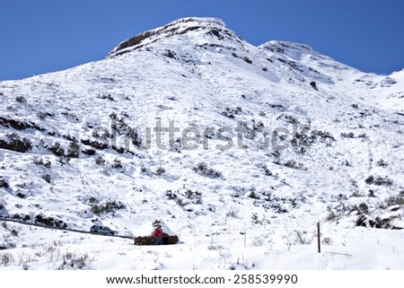 The snow covered Maluti mountains in rural Lesotho, Africa. - stock photo