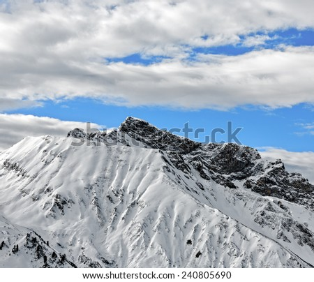 The snow-covered mountains of a valley of Zillertal - Mayrhofen, Austria - stock photo