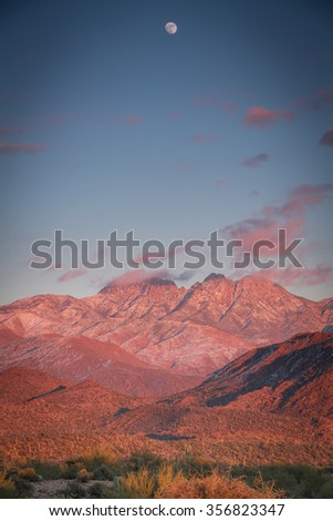 The snow covered peaks of the four peaks wilderness area outside Phoenix, Arizona.
