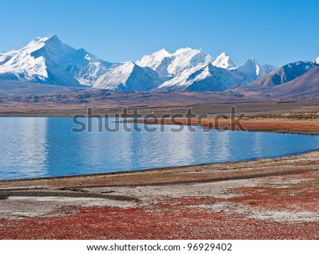 The Snow-mountain Gosainthan and the Lake Peikucuo