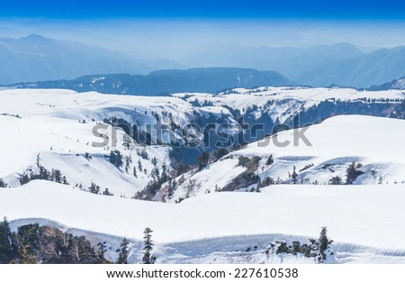The snow mountains view on Tateyama Kurobe Alpine Route, Japanese Alps in Japan