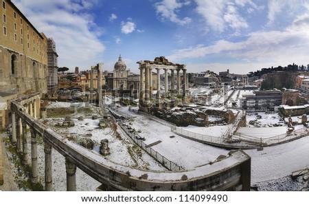 "the snow on ""foro Romano"" - stock photo"