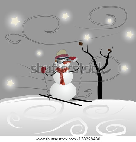 the snowman on skis stopped under a tree - stock photo