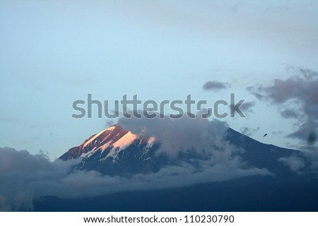The Snowy Peak of Mt Kilimanjaro in Tanzania, Africa - stock photo