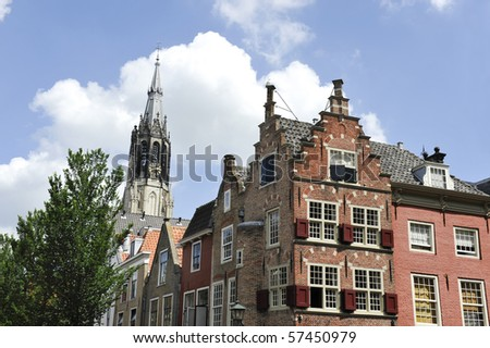 The so called New Church and typical Dutch houses with stepped gables in Delft,Holland - stock photo