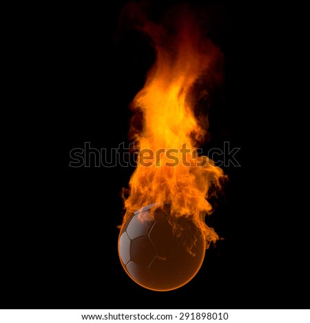 The soccer ball which burns - stock photo