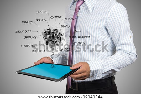 The social networks of business people on tablet. - stock photo