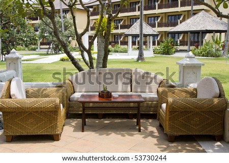 The sofa and two chairs in an empty cafe - stock photo