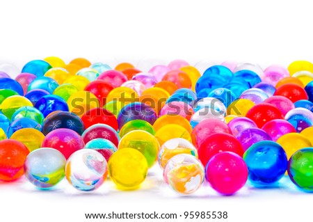 The soil of the colored balls. Photos isolated on white background - stock photo