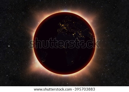 The solar eclipse of the planet earth