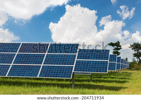 The solar farm for green energy in the field in Thailand - stock photo
