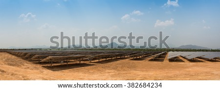 The solar farm for green energy in the field in Thailand as panorama picture