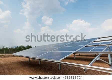 The solar farm for green energy in the field in Thailand with selective focus