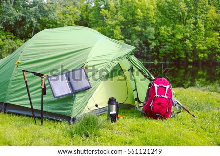 The solar panel attached to the tent. & Solar Panel Attached Tent Stock Photo 561121249 - Shutterstock