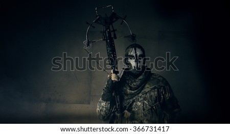 The soldier with the crossbow. Fantasy. The post Apocalypse.