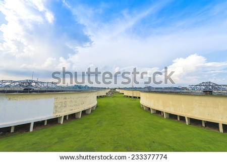 The Solid Contact Clarifier Tank type Sludge Recirculation process in Water Treatment for tap water - stock photo